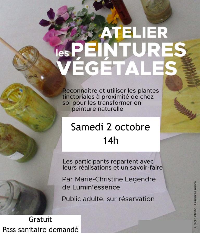 Atelier peinture végétale samedi 2 octobre